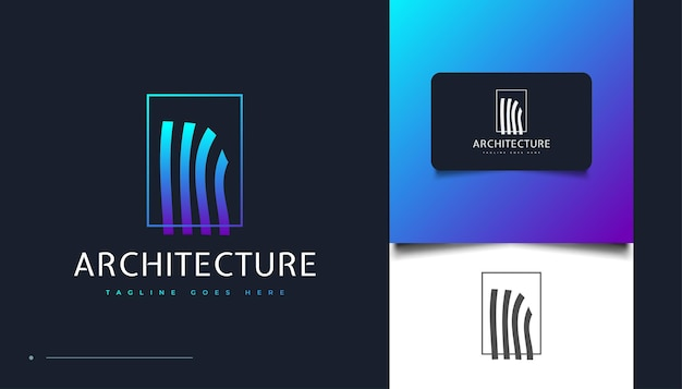 Design de logotipo de arquitetura única com efeito ondulado para identidade do setor imobiliário. modelo de design de logotipo de construção, arquitetura ou edifício