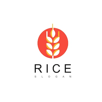 Design de logotipo de arroz japonês