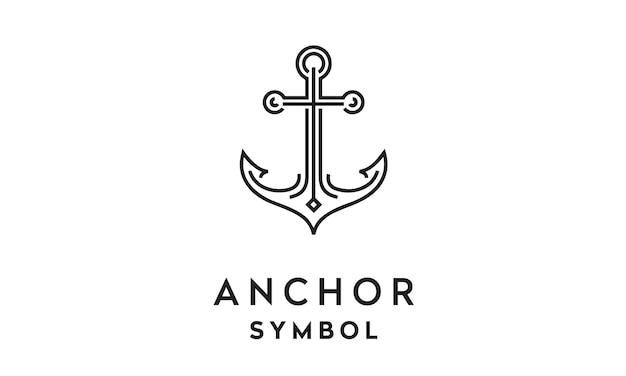 Design de logotipo de art line anchor