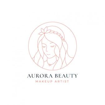 Design de logotipo de arte de linha de mulheres de beleza