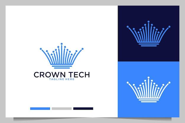 Design de logotipo de arte de linha de tecnologia crown