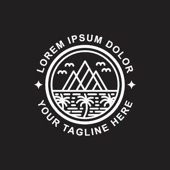 Design de logotipo de arte de linha ilha e montanha