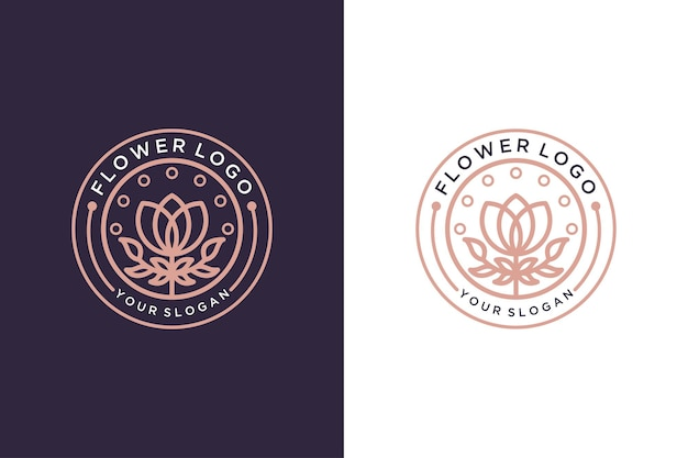 Design de logotipo de arte de linha vintage de flor rosa