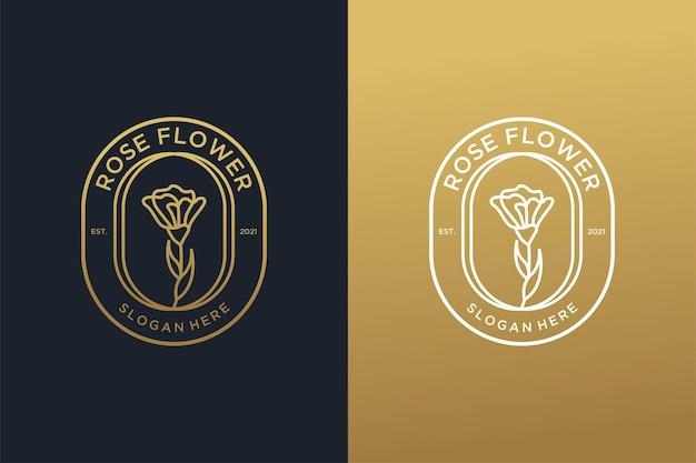 Design de logotipo de arte em linha de ouro vintage com flor rosa