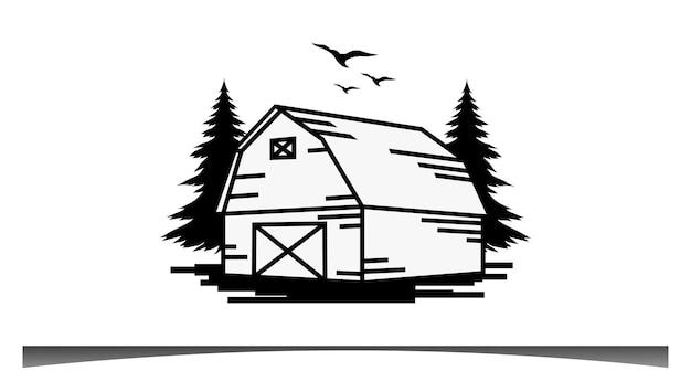 Design de logotipo de arte em linha retro vintage de fazenda de celeiro de madeira