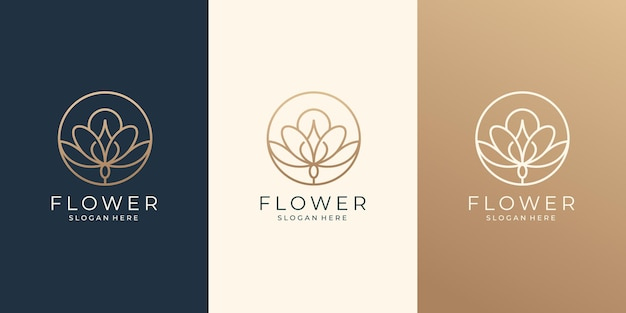 Design de logotipo de arte linha de flores de beleza para salão de beleza e spa