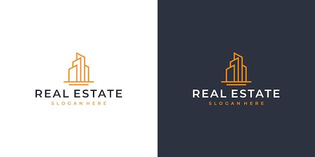 Design de logotipo de arte linha imobiliária