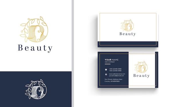 Design de logotipo de arte linha para salão de cabeleireiro feminino de beleza
