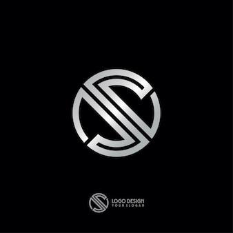 Design de logotipo de arte linha prata s