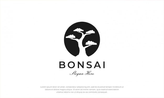 Design de logotipo de árvore bonsai