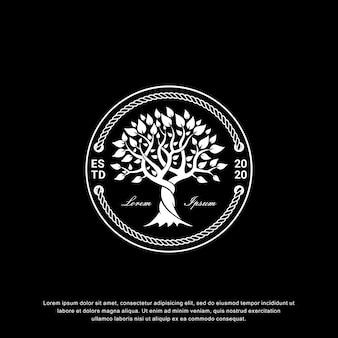 Design de logotipo de árvore criativa, estilo vintage