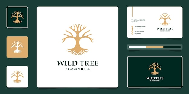 Design de logotipo de árvore de banyan luxuoso e modelo de cartão de visita