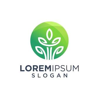 Design de logotipo de árvore de folhas