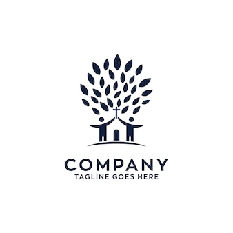 Design de logotipo de árvore de igreja