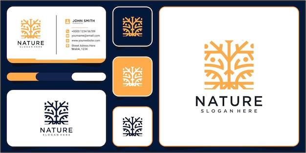 Design de logotipo de árvore de linha moderna com design de cartão de visita. desenho do logotipo da árvore