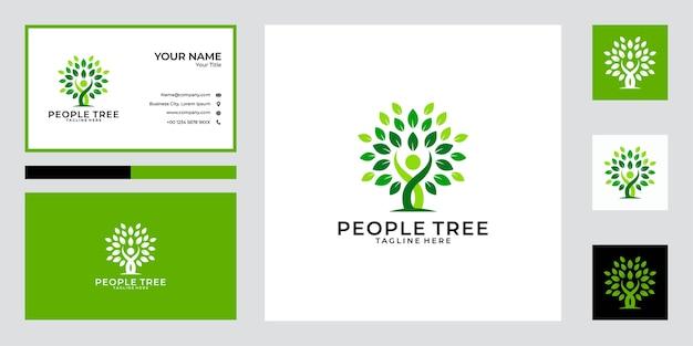 Design de logotipo de árvore de pessoas verdes e cartão de visita