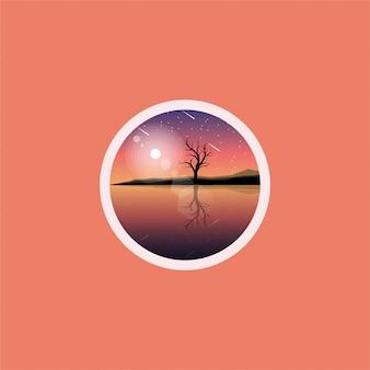 Design de logotipo de árvore do lago