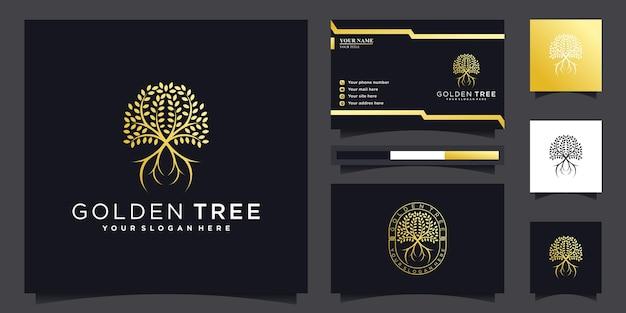 Design de logotipo de árvore dourada com conceito moderno e estilo de emblema exclusivo vektor premium
