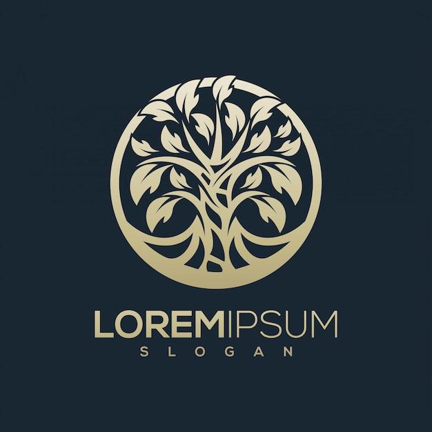 Design de logotipo de árvore dourada pronto para uso