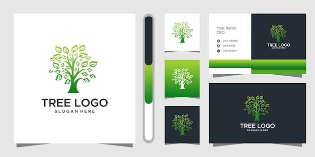 Design de logotipo de árvore e cartão de visita.