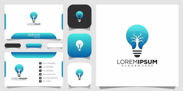 Design de logotipo de árvore e lâmpada