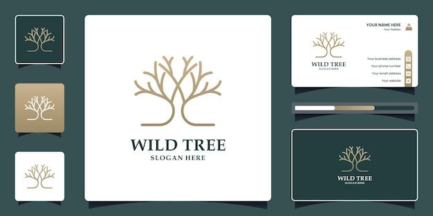 Design de logotipo de árvore e modelo de cartão de visita