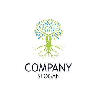 Design de logotipo de árvore enraizada