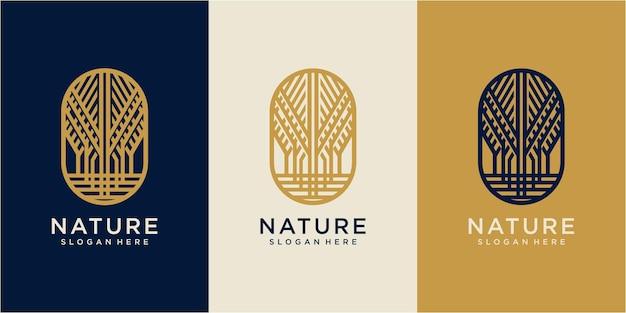 Design de logotipo de árvore minimalista. conceito de design de logotipo da natureza. desenho de logotipo de carvalho