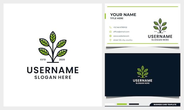 Design de logotipo de árvore simples com estilo de arte de linha de folha e modelo de cartão de visita