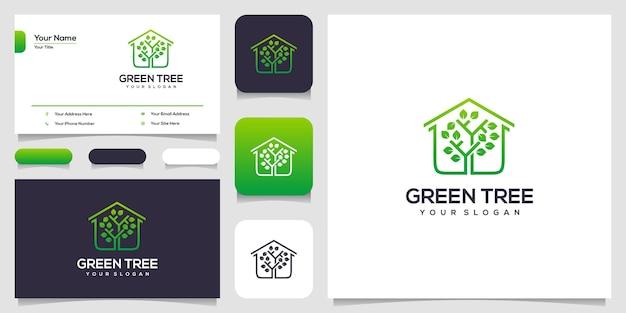 Design de logotipo de árvore verde e cartão de visita