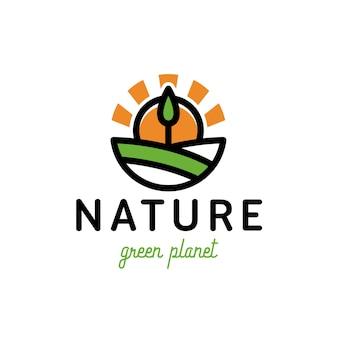 Design de logotipo de árvore verde natureza sol