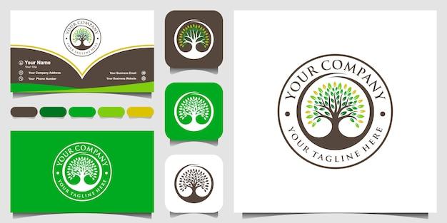 Design de logotipo de árvore vintage inspiração e design de cartão de visita.