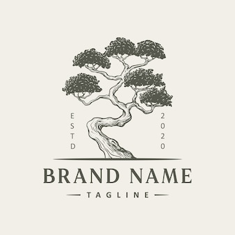 Design de logotipo de árvore vintage