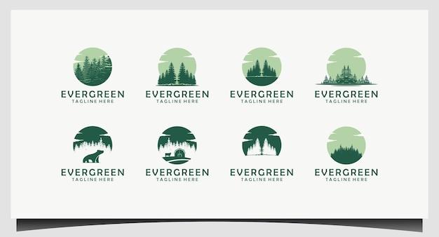 Design de logotipo de árvores perenes, pinheiros, abetos e cedros
