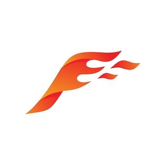 Design de logotipo de asas de fogo