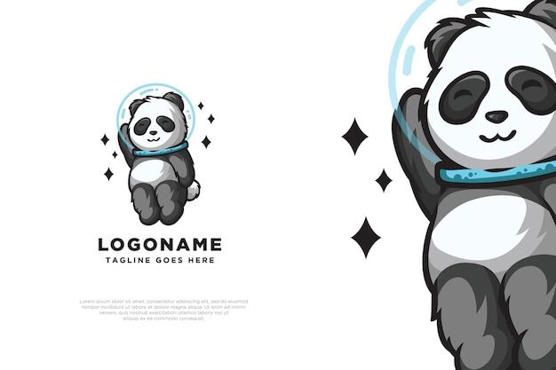 Design de logotipo de astronauta bonito do panda