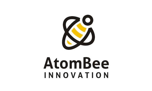 Design de logotipo de átomo e abelha