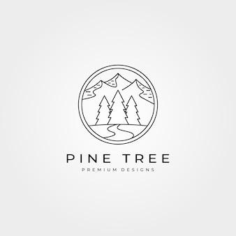 Design de logotipo de aventura ao ar livre de pinheiros