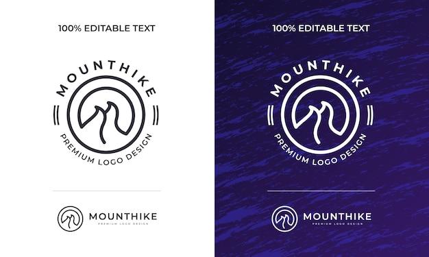 Design de logotipo de aventura na montanha logotipo vintage minimalista para viagens de amplificador de expedição de acampamento ao ar livre