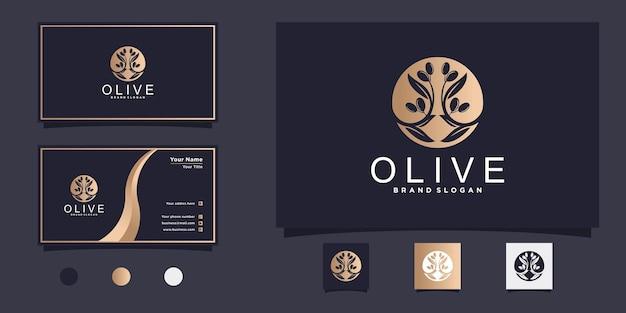 Design de logotipo de azeite com ramo de oliveira, folha drupa e cartão de visita premium vecto Vetor Premium