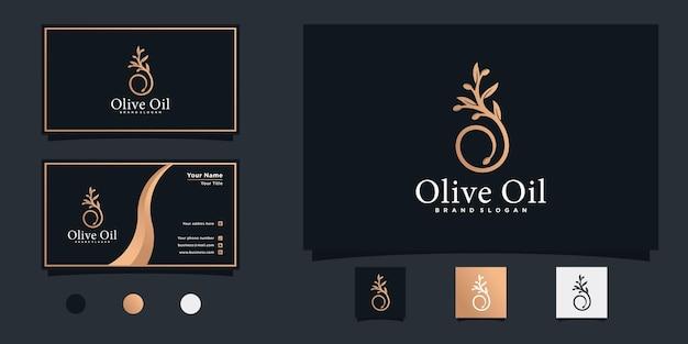 Design de logotipo de azeite com símbolo de ícone de ramo de folha de luxo e cartão de visita premium vector