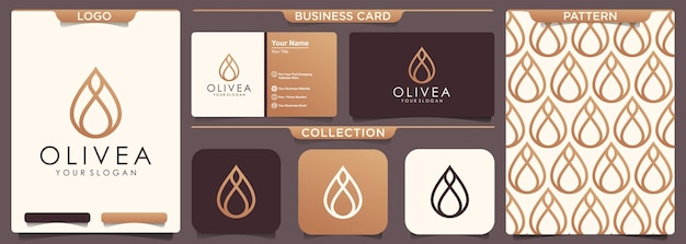 Design de logotipo de azeite de oliva gota d'água