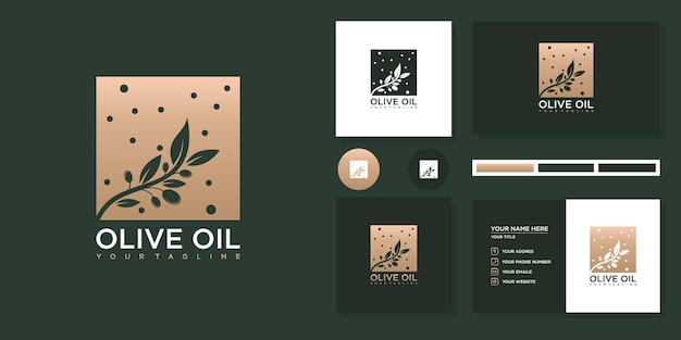 Design de logotipo de azeite e cartão de visita.
