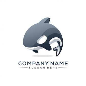 Design de logotipo de baleia assassina