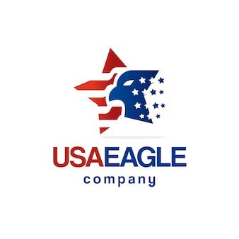Design de logotipo de bandeira americana estrela águia