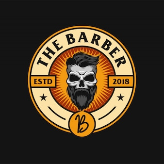 Design de logotipo de barba caveira