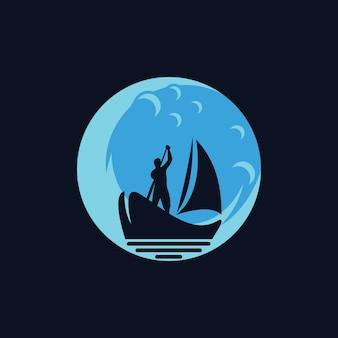 Design de logotipo de barco de silhueta