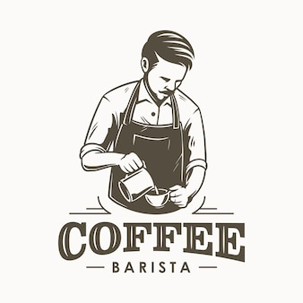 Design de logotipo de barista de café ou barman
