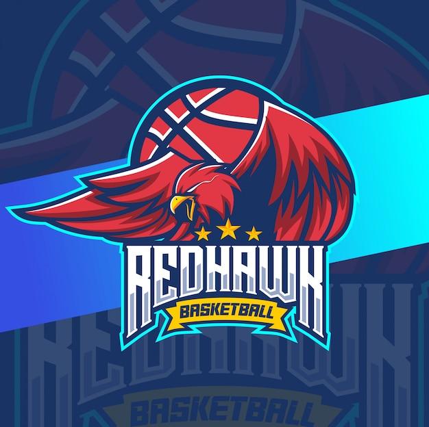 Design de logotipo de basquete mascote falcão vermelho