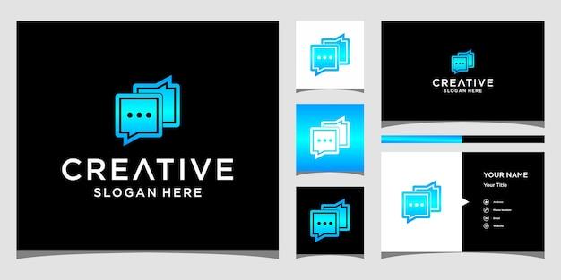 Design de logotipo de bate-papo com modelo de cartão de visita